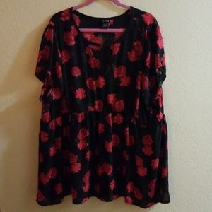 Black with red floral top